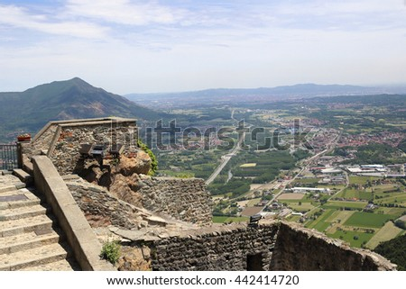 Susa valley viewed from Sacra di San Michele of Piedmont, Italy  - stock photo