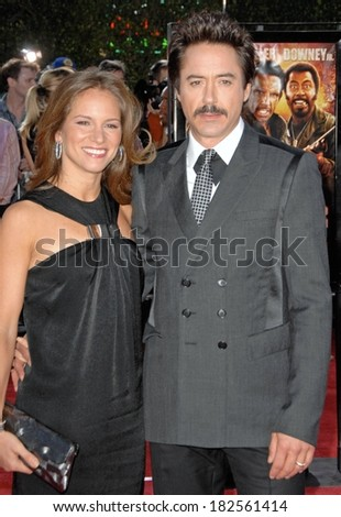 Susan Downey, Robert Downey Jr at Los Angeles Premiere of TROPIC THUNDER, Mann's Village Theatre in Westwood, Los Angeles, CA, August 11, 2008 - stock photo