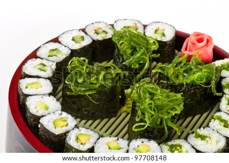 sushi and roll vegetarian set