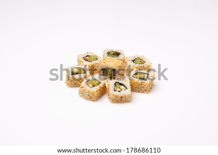 Sushi and rolls isolated over white background