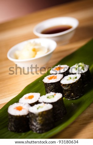 Sushi and rolls on the leaf