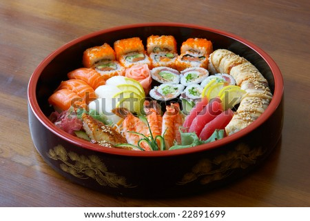 Sushi and rolls on the tray