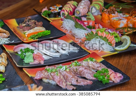 Sushi and sashimi set , Japanese style food