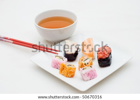 sushi and tea - stock photo