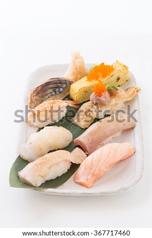 Sushi asian fish food realistic set with plate chopsticks and spices isolated on white background.