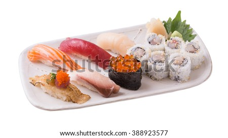Sushi asian fish food realistic set with plate chopsticks and spices isolated on white background.(clipping path)