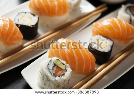 Sushi assortment on plate with chopsticks