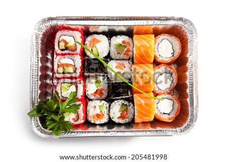 Sushi Box Food over White - stock photo