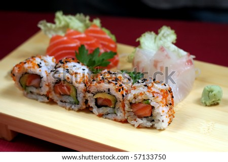 Sushi California rolls with rice - stock photo