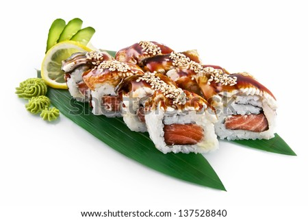 Sushi Canada with delicious ingredients isolated on white background - stock photo