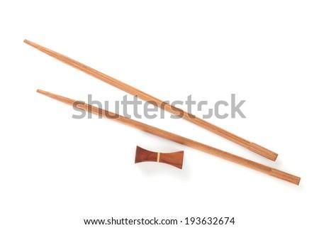 Sushi chopsticks. Isolated on white background - stock photo