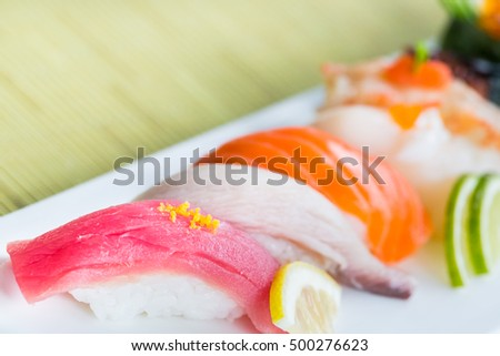 Sushi, Close up and Selective focus point on  sushi japanese food style.