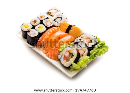 Sushi collection, isolated on white background. - stock photo