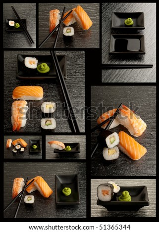 sushi collection on black background - stock photo