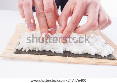 Sushi cooking - stock photo