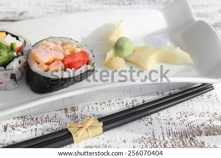 Sushi, ginger and wasabi with space to write text - stock photo