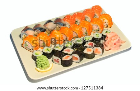 Sushi In A Sushi Boat isolated on white