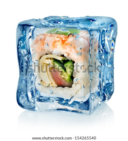 Sushi in ice cube isolated on a white background