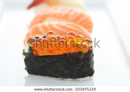 sushi in white background