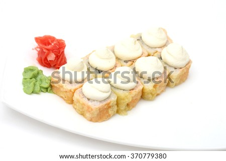 Sushi isolated on white background in tempura with cheese - stock photo