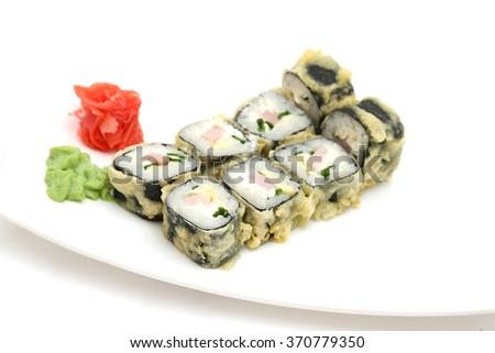 Sushi isolated on white background Tempura - stock photo