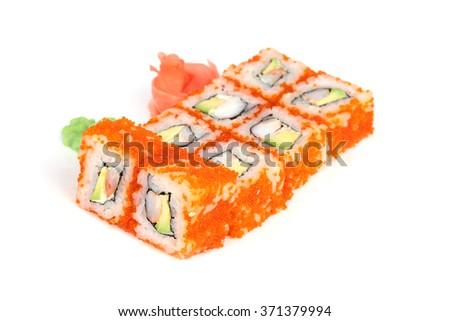 Sushi isolated on white background with flying fish roe  - stock photo