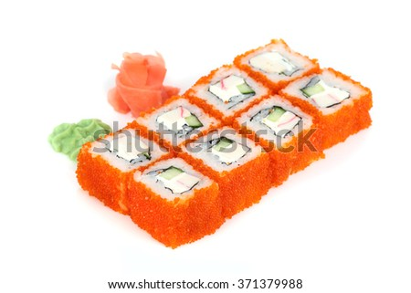 Sushi isolated on white background with flying fish roe and cheese - stock photo