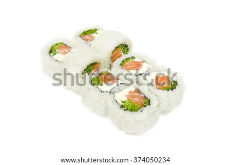Sushi isolation on a white background with red fish , cream cheese and chives