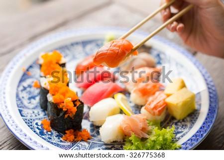 sushi ,japanese food - stock photo