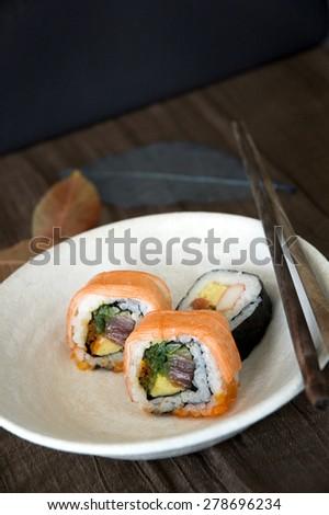 sushi japanese food on dish - stock photo
