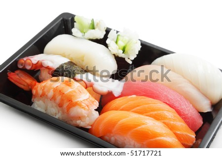 Sushi lunch box isolated on white