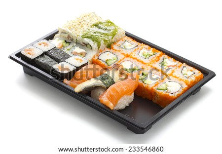 sushi menu in black transportbox close up isolated on white background