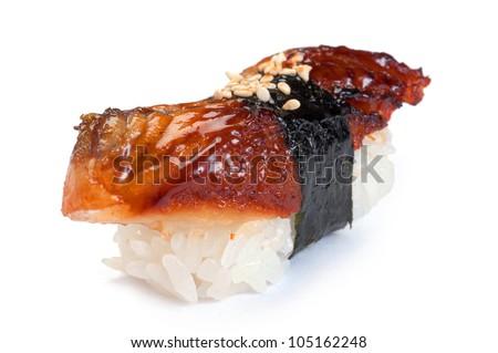 Sushi Nigiri, Unagi, Smoked Eel - stock photo