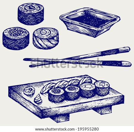 Sushi on a wooden board with chopsticks. Doodle style. Raster version - stock photo