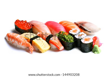 sushi on white background. - stock photo