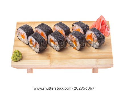 Sushi on wooden stand isolated on white background
