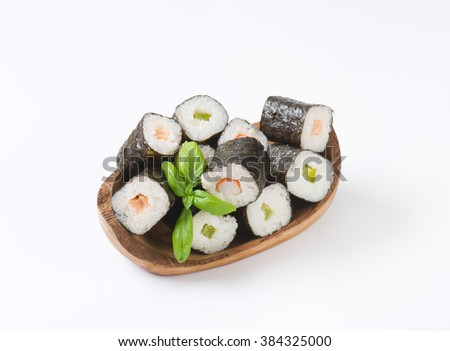 Sushi piece collection on white background