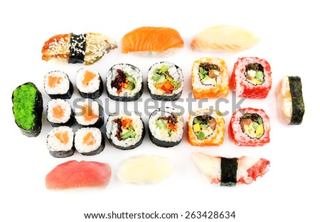 Sushi pieces collection isolated on white - stock photo