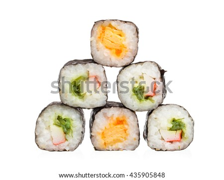 Sushi pieces collection isolated on white background