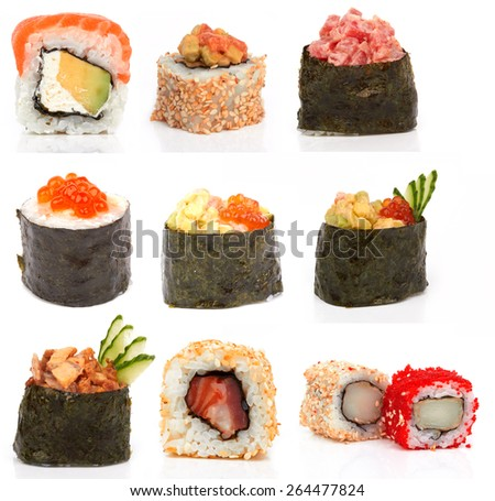 Sushi pieces collection, on a white background  - stock photo