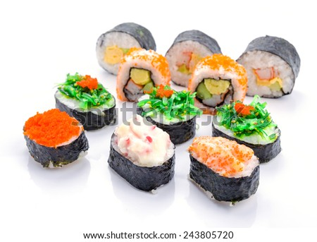 Sushi pieces collection, on white background
