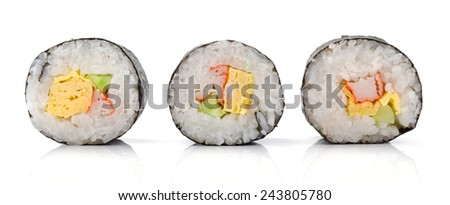 Sushi pieces collection, on white background - stock photo