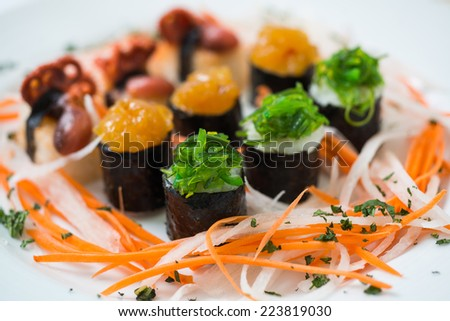 Sushi pieces collection,on white background,d800