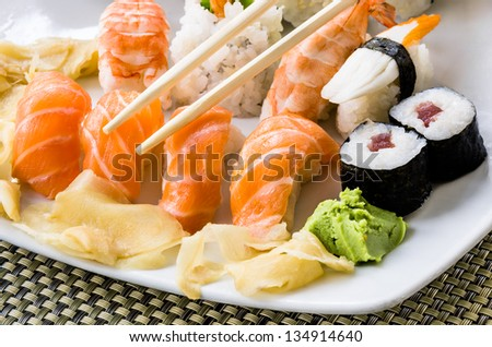Sushi Plate - Close Up - stock photo