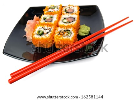 Sushi Plate On The White Background