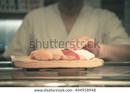 Sushi ready to serve