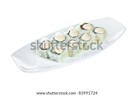 Sushi (Roll Caesar) on a white background