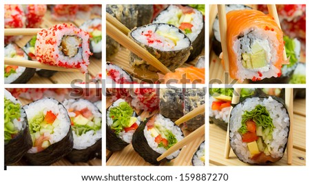 Sushi roll collage - stock photo