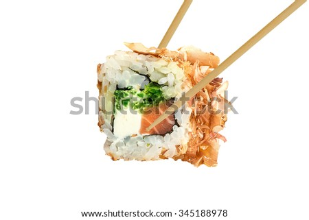 sushi roll isolated - stock photo