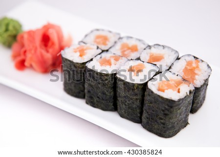 sushi roll, Japanese seafood sushi , roll on a white background